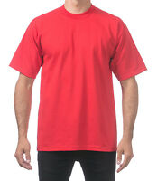 Pro Club Men's Heavyweight Cotton Short Sleeve Crew Neck T-Shirt - Red