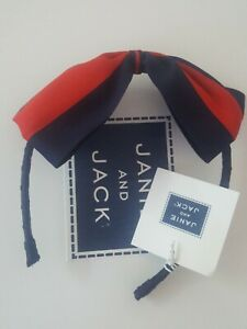 janie and jack NWT navy red Paris Estate headband 2 3 4 5 6 Bow fall new