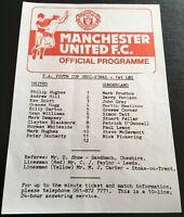 MANCHESTER UNITED V SUNDERLAND FA YOUTH CUP SEMI FINAL 1st LEG 1981/82