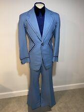 Vtg 60s 70s Blue 2 Piece Tuxedo Suit Mens 42 Long Jacket 33 32 Pants Bell Bottom