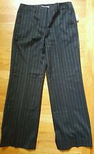 Calvin Klein The Morgan Wide Leg Pants Size 4P Black with Pinstripe NWT