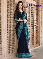Saree Indian Sari Bollywood Designer Wear Blouse Silk Pakistani Wedding Sc Fancy