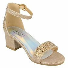 Girls Mid Heel Ankle Strap Glitter Wedding Bridesmaid Formal Sandals Shoes Size