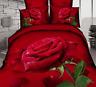 3D Red Rose Queen King Size Cotton Bedding Set 4Pcs Sheet Duvet Cover Pillowcase