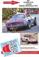 DÉCALS  1/18 réf 851 Renault ALPINE A110  JULIEN RONDE CEVENOLE 1973