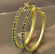 Blue CZ 9K Solid Gold Filled Womens HOOP EARRINGS,F5047
