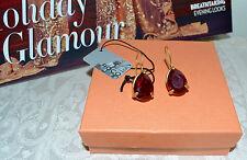 NIB $155 RODRIGO OTAZU Red Siam Crystal Drop Earrings Goldtone GLAM!