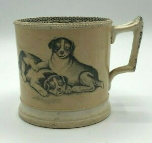 1830's Staffordshire England Cup Dogs and Cats coin rim edge black transferware