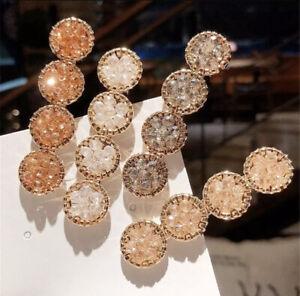 Women Girl Bling Korean Crystal Rhinestone Hair Clip Geometric Round accessories