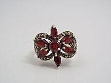 Vintage Sterling Silver Garnet & Marcasite Flower Design Ring, size 7