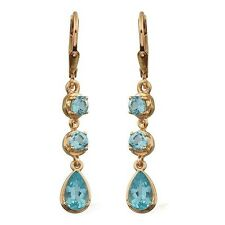 Paraibe Apatite Lever Back Earrings in 14K Gold Overlay Sterling Silver 2.50ct