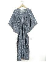 Anokhi Vintage Coton Caftan Main Bloc Imprimé Indien Robe Kimono Boho Robe Maxi