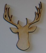 (3) 2.5 Inch x 2.0 Inch Deer Head Buck Craft Project Wood Cutout DEER1