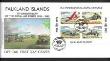 FALKLAND ILDS, 1993 75TH ANNIV, OF RAF, MIN SHEET, ON ILLUSTRATED FDC. CAT £5+