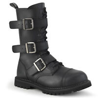Demonia RIOT-12BK Men's Screamo Goth Combat Biker Steel Toe Mid-Calf Ankle Boot