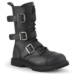 Demonia RIOT-12BK Men's Screamo Goth Combat Biker Steel Toe Mid-Calf Ankle Boot