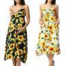 Women Mom Pregnant Maternity Nursing Floral Sundress Strap Sleeveless Long Dress