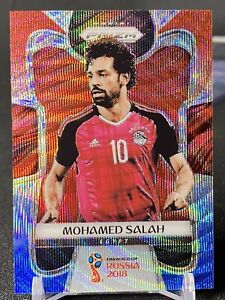 2018 MOHAMED SALAH PANINI PRIZM FIFA WORLD CUP RUSSIA 2018 WAVE RED BLUE