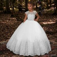Flower Girl Dresses Lace Applique Sleeveless Floor Length Princess Gown for Kids