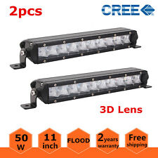 "2X 11""inch 50W Single Row CREE Slim Led Offroad Light Bar Flood Boat UTE 3D Lens"