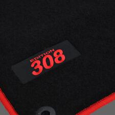 4 TAPIS SOL PEUGEOT 308 & 308SW 2007-2013 MOQUETTE LOGO ROUGE SPECIFIQUE