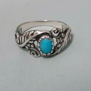 Carolyn Pollack Turquoise and 925 Sterling Silver Leaf Motif Ring