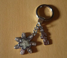 Zilverkleurige sleutelhanger bloem kat poes van Mici&Baa  NIEUW
