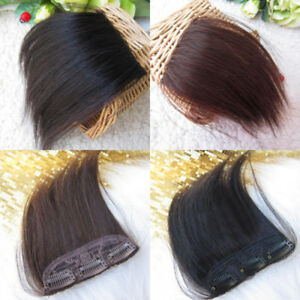 Men Real Thick Straight Bang Clip in on Fringe Front Hair Extensions Hairpiece
