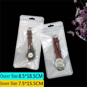 50-pack Reclosable PVC Plastic Bag Jewelry Watch Display Storage Case 18x8cm