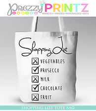 PROSECCO SHOPPING LIST CHRISTMAS GIFT MOTHERS DAY BIRTHDAY TOTE BAG