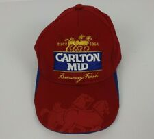 Carlton Mid Hat Cap Red Gold Horse Embroidered Logo Adjustable Back Like New