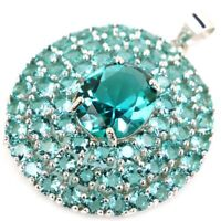 35x28mm Delicate Fine Cut 6.4g Aquamarine Dating 925 Sterling Silver Pendant