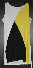Black / White / Yellow Colour Block Long Line Vest Top / Mini Dress – L / 12 NEW