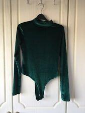 Boohoo Green Velvet Bodysuit Size 10