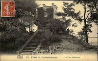 Forêt de Fontainebleau France 1909 La Tour Bennecourt Turm Tower Castle gelaufen