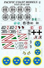 Pacific Coast Models 1/48th Scale Fiat CR.42 Falco Decal Sheet. No Instructions!