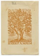 Old Oak Tree & photo camera, Ex libris Bookplate by Ilmar Breiberg, Germany