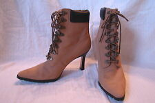 NO BOUNDRIES Size 9.5 High Heeled Wheat Faux Leather Tall Work Boots