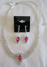 Necklace and Earrings Set Pink Rhinestone Cluster Silver Choker to Longer NWT 6