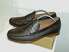 """JOHN LEWIS Brown Leather  Penny Loafers - """"LLOYD"""" SZ UK9 In VGC SLIP ONS"""