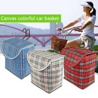 Bike Basket Front Bicycle Cycle Basket Shopping Holder Canvas Basket W/ Hooks a+