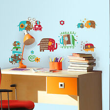 ZUTANO ELEPHANTS Wall Decals 22 Elephant Parade Stickers Baby Nursery Room Decor