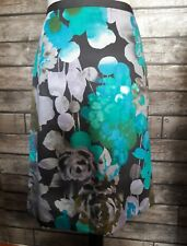 Monsoon Turquoise Grey Lilac Floral Print Knee Length 'Laura' Skirt Size 10 BNWT