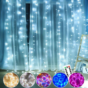 LED Window Curtain String Fairy Lights Waterfall In/Outdoor UK Plug Xmas Decor