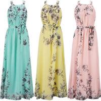 Women's Summer Boho Chiffon Party Evening Beach Dresses Long Maxi Dress Sundress