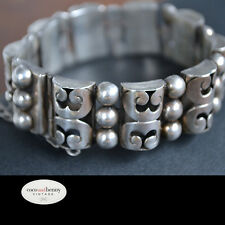 *Vintage 30's/40's Taxco MEXICAN 980 Silver Bracelet AMAZING 53 grams JHS Stamp