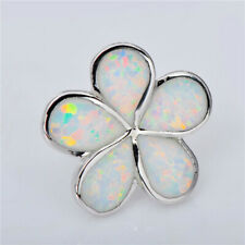 Petals Bloom Floral Stud Silver Earring Women Elegant White simulated Opal 5