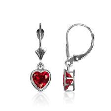 14K Solid White Gold Bezel Set Red Ruby 6mm Heart Leverback Dangle Earrings