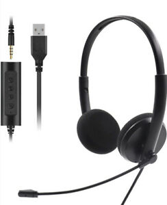 Standard 2 In 1 Headset with noise Cancelling Microphone. Wired 3.5mm Or USB.