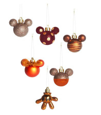 Disney Mickey Mouse Minnie Mouse Pack Of 6 Bronze Baubles Christmas Decorations